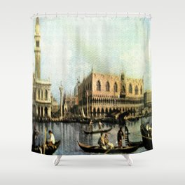 Return of the Bucintoro to the Molo on Ascension Day (Painted in 1729) Shower Curtain