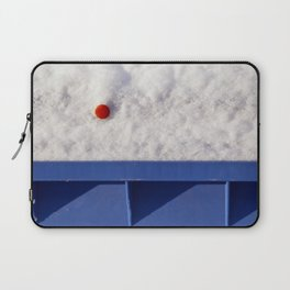 Red Dot In White Snow On Blue Container Laptop Sleeve