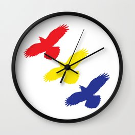 Flying Ravens in Color Wall Clock