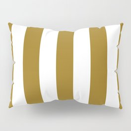 Sand dune green - solid color - white vertical lines pattern Pillow Sham