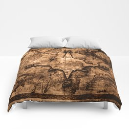 Antique World Map & Compass Rose Comforters