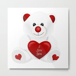 Valentine Love Bear Metal Print