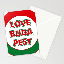 Love Budapest, circle, color Stationery Cards