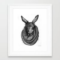 kangaroo Framed Art Prints featuring Kangaroo  by Tim Van Den Eynde