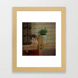 French village boy Framed Art Print