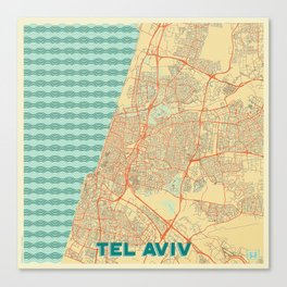 Tel Aviv Map Retro Canvas Print