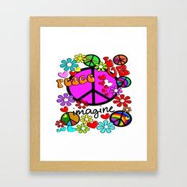 Imagine Peace Sybols Retro Style Framed Art Print