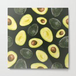 Avocados on a Dark Green Background Metal Print