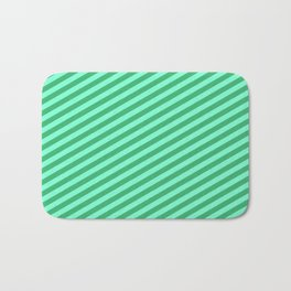 Sea Green and Aquamarine Colored Stripes/Lines Pattern Bath Mat