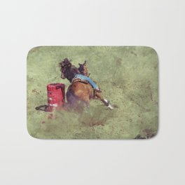 The Barrel Racer - Rodeo Horse and Rider Bath Mat