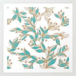 Winter Floral Pattern (Turq) Art Print