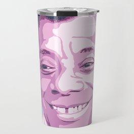 James Baldwin Portrait Blue Purple Travel Mug