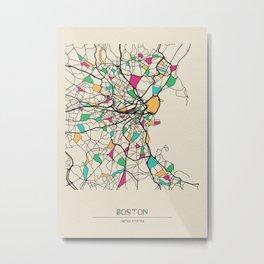 Colorful City Maps: Boston, Massachusetts Metal Print