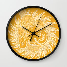 Ganesha Lineart Yellow White Wall Clock