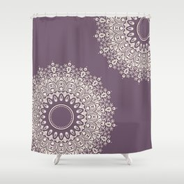 Asymmetric Mandalas on Mulberry Background Shower Curtain