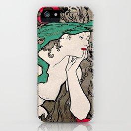 Vintage Alphonse Mucha Poster Girl iPhone Case