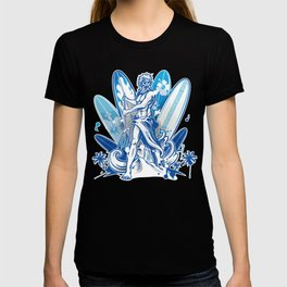 poseidon surfer on surfboard T-shirt
