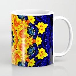 Yellow Orange Floral Madala  Background Dark Blue Coffee Mug