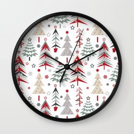 Fairy Christmas forest. Wall Clock