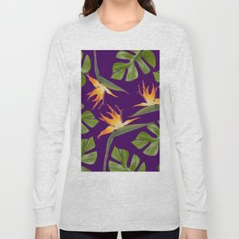 Monstera - and 3 Paradise Flowers Long Sleeve T-shirt