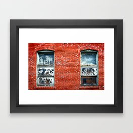 Old Windows Bricks Framed Art Print