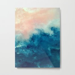 Where the Sky Meets the Sea #2 Blue and Pink Abstract Metal Print