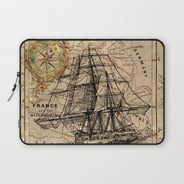 VINTAGE EUROPEAN MAP & SHIP Laptop Sleeve