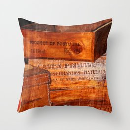 Wine crates Throw Pillow