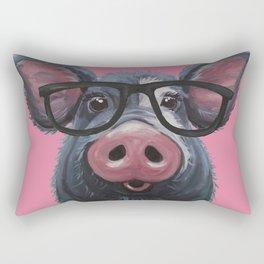 Pig with glasses art, Colorful pig art Rectangular Pillow