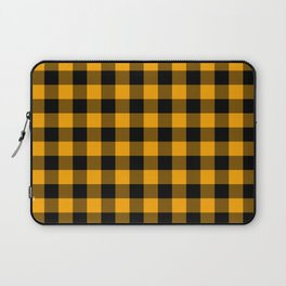 Crisp Orange and Black Lumberjack Buffalo Plaid Fabric Laptop Sleeve