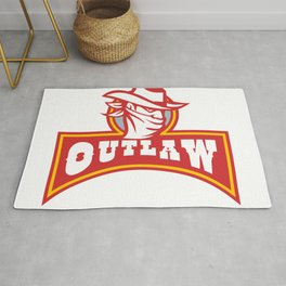 Bandit With Outlaw Text Retro Rug