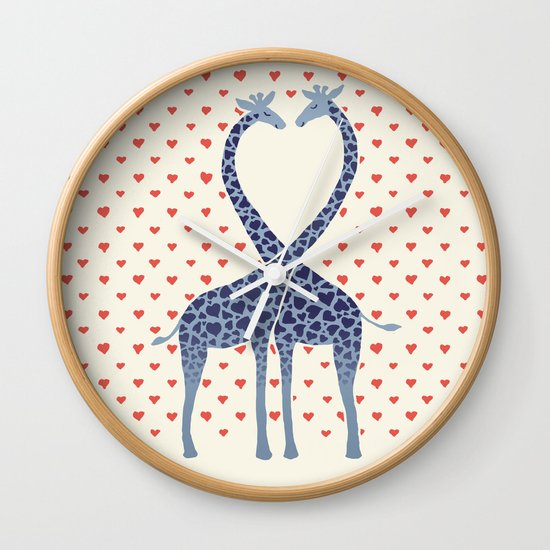 Giraffes in Love - a Valentine's Day illustration Wall Clock