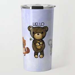 Bear Platypus and Koala Illustration on Purple Travel Mug