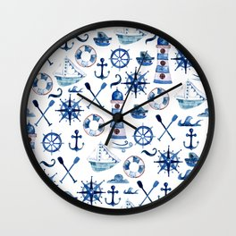 Nautical Watercolor Wall Clock