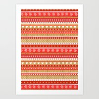 nordic Art Prints featuring Nordic Stripe by Faye Maguire Designs