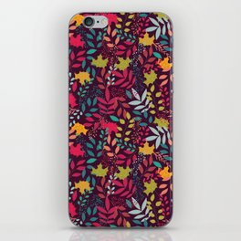 Autumn seamless pattern with floral decorative elements, colorful design iPhone Skin