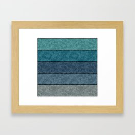 Blue and gray marble striped pattern . Framed Art Print
