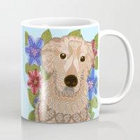 golden retriever Mugs featuring Golden Retriever by ArtLovePassion