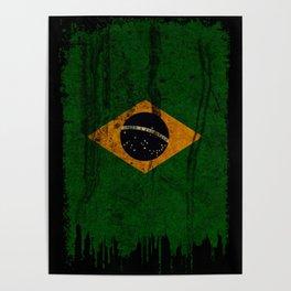 Brazil grunge vintage Flag Poster