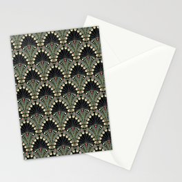 Art Deco Peacock Feathers Custom Stationery Cards