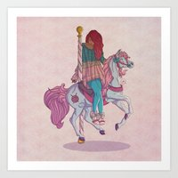 carousel Art Prints featuring Carousel by Leigh Wortley