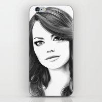 emma stone iPhone & iPod Skins featuring Emma Stone minimalist digital portrait by Thubakabra