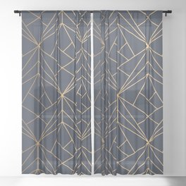 Navy blue Gold Geometric Pattern With White Shimmer Sheer Curtain