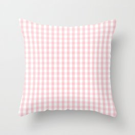 White and Light Millennial Pink Pastel Color Gingham Check Throw Pillow