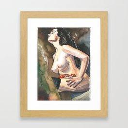 Original watercolor painting NUDE EROTIC GIRL posing Autumn Mood Framed Art Print