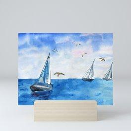 Boat trip on the yacht Mini Art Print