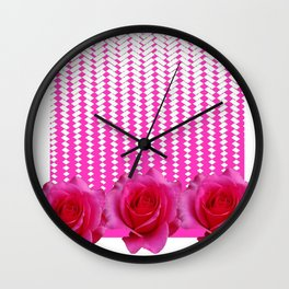 MODERN ART FUCHSIA PINK ROSE PATTERN Wall Clock