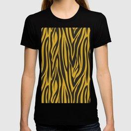 Grey and Gold Zebra Print Pattern T-shirt
