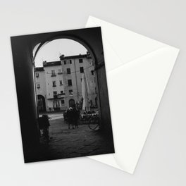 Italian old women walking through a gate  Lucca, Italy   Analog photography black and white art print Art Print Stationery Cards