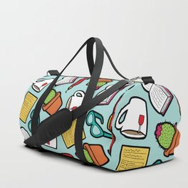 Book Club Pattern in Blue Duffle Bag